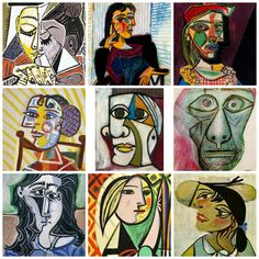 Art Ed F Picasso Picasso Self Portraits: Grade Kunstunterricht Art Grade kubismus kunstunterricht PICASSO Portraits Picasso Collage, Pablo Picasso Drawings, Kunst Picasso, Art Picasso, Picasso Paintings, Picasso Self Portrait, Self Portrait Art, Pablo Picasso Zeichnungen, Abstract Face Art