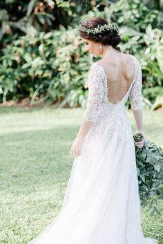Long sleeve lace wedding dress with an open back | Vanilla Photography on @blovedblog