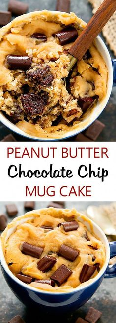 Peanut Butter Chocolate Chip Mug Cake. Single serving, fluffy, eggless peanut butter cake mixed with gooey melted chocolate. Cooks in the microwave and is ready from start to finish in about 5 minutes. Cake Peanut Butter Chocolate Chip Mug Cake Chocolate Chip Mug Cake, Chocolate Mugs, Melting Chocolate Chips, Melted Chocolate, Chocolate Muffins, Recipes With Chocolate Chips, Healthy Chocolate Mug Cake, Nutella Mug Cake, Mug Cake Healthy