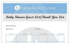 Plan your baby shower with this easy-to-use downloadable Baby Shower Guest List/Thank you List from babyshower.com! www.babyshower.com