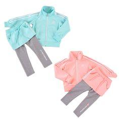 봄의 컬러, 핑크와 민트 그리고 기능성 스판 레깅스가 어우러진 여아용 트랙세트 #엘롯데 뉴발란스 키즈 트랙세트 #뉴발란스 #newbalancekids