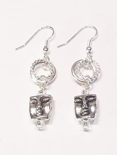 Earrings Silver Faces Gift 425 by CinfulDesigns on Etsy, $15.00