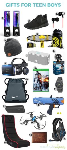 Gift Ideas for Teen Boys 2019 Looking for cool gift ideas for teen boys? This gift guide has you covered. Teens can be hard to buy for but not with these clever ideas! The post Gift Ideas for Teen Boys 2019 appeared first on Birthday ideas. Cool Gifts For Teens, Gifts For Teen Boys, Teen Girl Gifts, Cool Gift Ideas, Teenage Guys, Teen Boy Christmas Gifts, Christmas Ideas, Christmas Christmas, Christmas Crafts