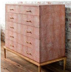 Obsessed with the shagreen trend.  Love this Regina-Andrews dresser in Coral Shagreen Dresser - Clayton Gray Home, $6998 (!)