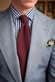 Knit Tie with Gingham Shirt...Smart...