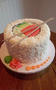 Sushi roll spicy salmon roll cake sweetpea cakes bakery crystal lake custom cakes a three layer biscoff drip cake with brown sugar sponges biscoff buttercream white chocolate ganache and a biscoff drip! Dessert Sushi, Sushi Cake, Sushi Party, Sushi Cupcakes, Swirl Cupcakes, Kid Cupcakes, Sushi Sushi, Cake Decorating Designs, Cake Designs