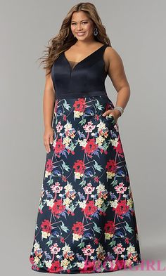 5ad8d675f483c Long Floral Print Plus Size V-Neck Prom Dress