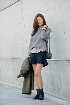 "koreanmodel: "" Street style: Park So Min at Seoul Fashion Week Spring 2015 shot by Alex Finch """