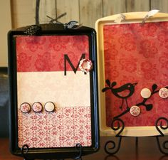 Cute magnet boards from cookie sheets. Fun gift idea.