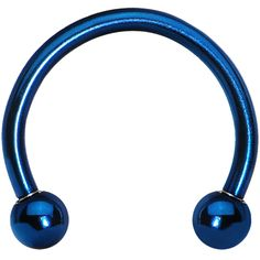 """Body Candy: Blue Titanium Horseshoe Circular Barbell, 16 Gauge (1.2mm), 3/8"""" (10mm), Anodized Titanium, 316L Surgical Grade Stainless Steel, 3mm Ball, $2.99"""