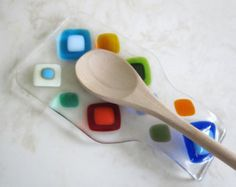 Fused Glass Spoon Rest, Bright Colorful Glass Diamonds, Modern Colorful Spoon Rest, Glass Spoon Rest in Blue, Turquoise, Red, and Green
