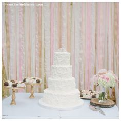 Pink and lace ribbon wall - Oak Tree Manor Wedding in Spring TX by The Bird & The Bear Photography www.thebirdthebear.com