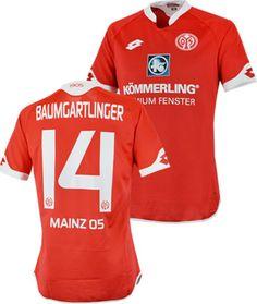 マインツ05 15/16シーズン、ホーム用ユニフォーム。 #14 BAUMGARTLINGERオフィシャルネーム&ナンバー入り。