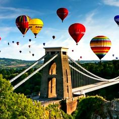 Balloons over bridge