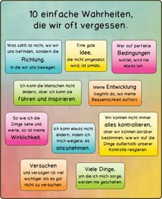 10 einfache Wahrheiten Teaching aids pearls Materials for primary school and teacher community The Words, Cool Words, Web Design Tutorial, Learn German, Teaching Aids, Psychology Facts, Better Life, Self Improvement, Elementary Schools