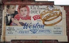 Weston Credit Jewelers Ghost Sign in Toronto, Canada Vintage Wall Art, Vintage Walls, Vintage Signs, Painted Signs, Hand Painted, Neon Jewelry, Painted Brick Walls, Building Signs, Old Signs