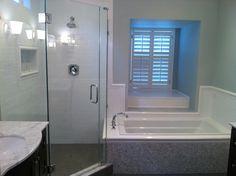 house master bath subway tile with chair rail carrera woven mosaic kohler archer tub benjamin moore quiet moments - Kohler Archer Tub