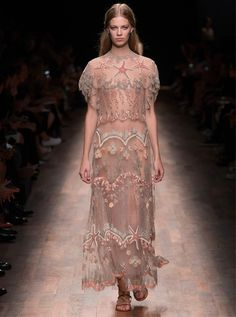 Embellished sheer dress at Valentino SS15 PFW. More images here: http://www.dazeddigital.com/fashion/article/22023/1/valentino-ss15