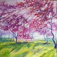 Fabulous Spring Cherry trees. Check out the beautiful work of Kathy Tiernan at http://www.artlimerick.com/limerick-artist-kathy-tiernan Painting by artist Kathy Tiernan  #limerickartist #artlimerick #limerickart #painting #gallery