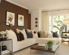 Small room decorating tricks - Matching window treatment colour, wall colour and colour of large furniture will make room appear larger.