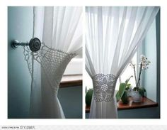 Lovely crocheted lace tie backs-great for a bedroom