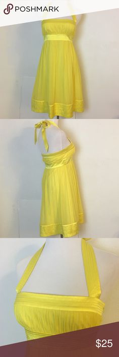 Maggy London Size 6 Dress Maggy London Size 6 100% Silk Halter Style Yellow Amazing detail Size zip  Several layers, lined Maggy London Dresses Mini