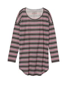 COLOR: BLACK SWEATER KNOT STRIPE SIZE: SMALL   The Angel Long Sleeve Sleep Tee by Victoria's Secret