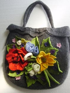 Gray  Wool Felted  Bag   with   Multicolor  Nature  Flowers Bouquet OOAK