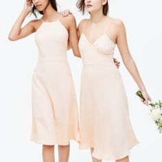 Love the simplicity of these champagne bridesmaids dresses from J Crew