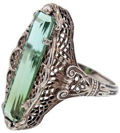 Antique green tourmaline filigree ring, circa 1880, antique jewelry, Victorian, white gold, heirloom, cocktail ring, dinner ring
