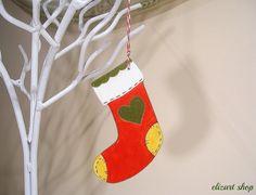 Ceramic stocking ornament red Christmas stocking by elizartshop