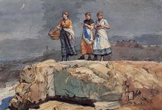 """""""Where are the Boats?"""" (also known as """"On the Cliffs""""), Winslow Homer, 1883, watercolor, private collection."""