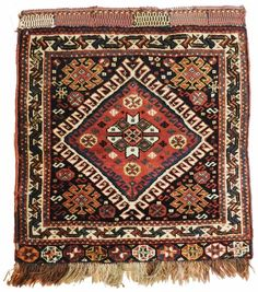 Antique Persian nomadic bag face rug ornated with nomadic motifs. Interior Rugs, Square Rugs, Traditional Rugs, Home Rugs, Tribal Rug, Persian Carpet, Rugs Online, Rugs On Carpet, Carpets