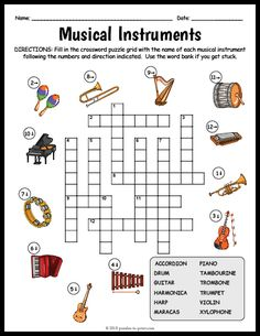 Free Printable Musical Instruments Crossword - Marisa's World Music Lessons For Kids, Music For Kids, Elementary Music Lessons, Elementary Schools, Musik Genre, Printable Crossword Puzzles, Music Worksheets, Music Activities, Learning Games