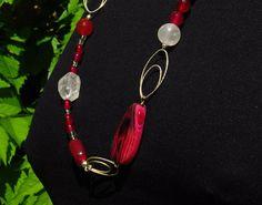 collana fatta di 925 argento rosa agata cristallo di di Oxidex