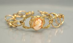 Victorian Cameo GF Link Bracelet by EarlyBirdJewels on Etsy, $62.00