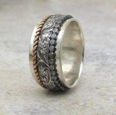 Silver Spinner Ring Floral Spinner