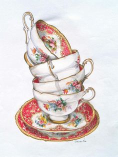 Stacked teacups and saucers