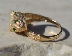 ESTATE 14K YELLOW GOLD JAGUAR RING WITH EMERALD EYES-SIZE 7.5-585-LEOPARD-CAT #Band