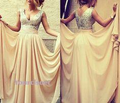Amazing A-line V-neckline Chiffon Long Prom Dresses, Graduation Dress,Evening Dresses