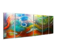 """Green, Yellow, Purple, Blue, Orange, Red Abstract Painting 'Esne' - 62x24 in. - Multi-Color Multi-Panel Eye-Catching Metal Sculpture - Rainbow Wall Art - Wall Decorations for Living Room and Bedroom by NY Artwork. $1980.00. Overall Size of Wall Art: 62W x 24""""H x 2""""D Inches. Placement & Care - suitable for indoor/outdoor use, clean with soft/clean cotton cloth, warm water & mild hand soap. Made in the USA - all of our abstract painting is created by hand by a pro..."""