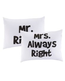 "Mr. Right/Mrs. Always Right Pillowcase Set - Add a whimsical edge to your bedding ensemble with these fun cotton pillowcases with a text print stating ""Mr. Right"" and ""Mrs. Always Right."""