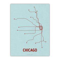 Chicago Screenprint Light Blue