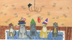 Five Cats Who Had a Party with Confetti and Hats by HeresMyHart