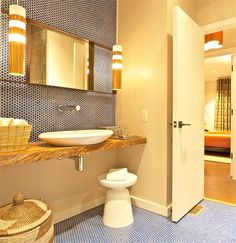 Blue Penny Tile Mosaic ModDotz New Navy Porcelain Penny Round Tile for Kitchen Backsplash, Bathroom Tile or Floor Tile
