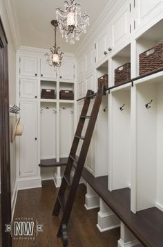 Beautiful mudroom with sliding ladder | NW Artisan Hardware