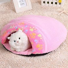Geekercity Lovely Hamburger Design Washable Cat Litter Bed House Waterloo Soft Warm Dog Kennel Pet Igloo House Sleeping Bag Nest Pet Supplies Pink >>> More info could be found at the image url.