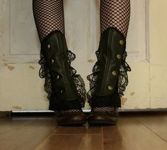 Vintage inspired Lace and faux leather Boot Spats by DarkDestiny, $89.00