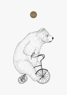 Bear On A Bike by lemonmade