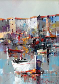 Branko Dimitrijevic, Boat, Oil on canvas, seaside painting Boat Painting, Painting & Drawing, Watercolor Paintings, Art Paintings, Boat Art, Impressionist Art, Art Oil, Painting Inspiration, Modern Art